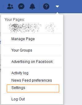 deactivating Facebook account step 1 - Settings