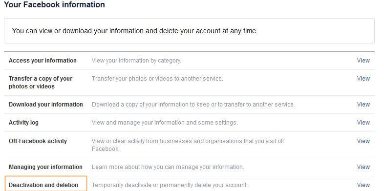 deactivating Facebook account step 3