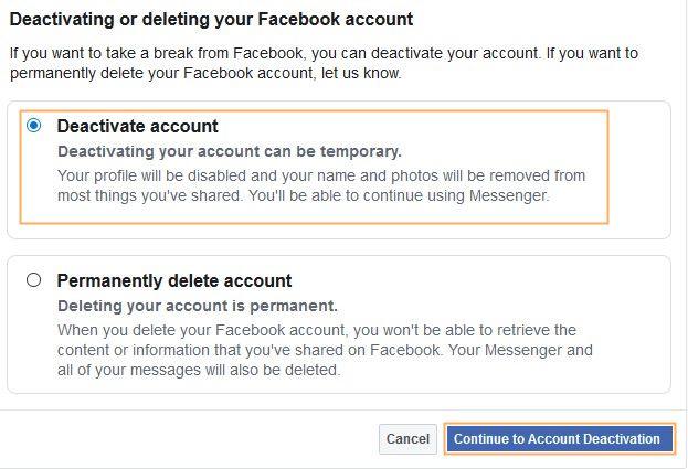 deactivating Facebook account step 4