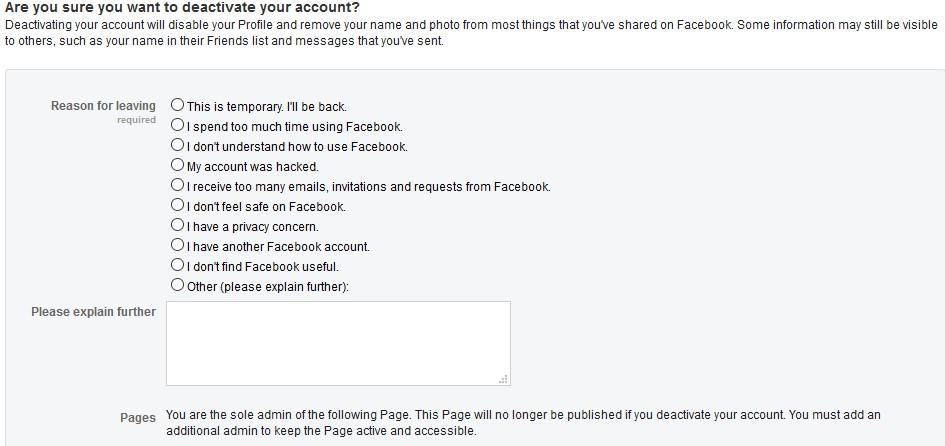 deactivating Facebook account step 5