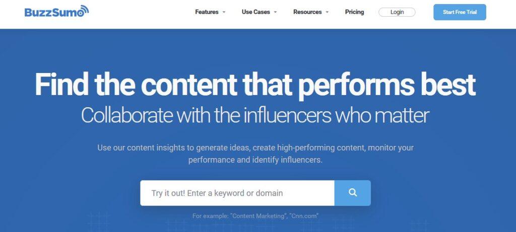BuzzSumo- best site to find blog ideas
