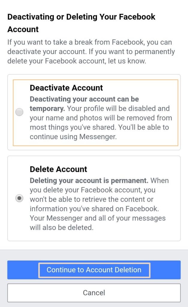deactivating Facebook account on app step 5