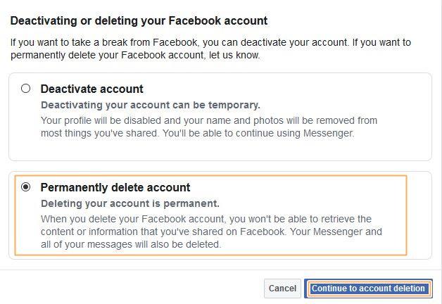 Delete FB account step 2